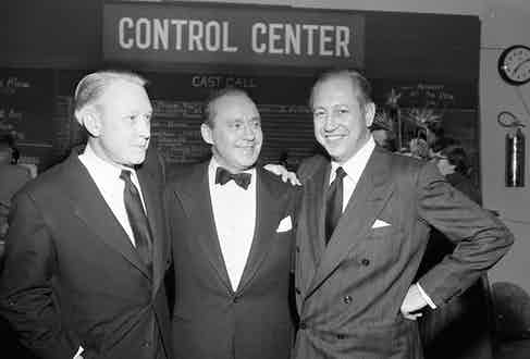 With Frank Stanton and comedian and actor Jack Benny at a party in Los Angeles, 1952.  Photo by CBS Photo Archive.