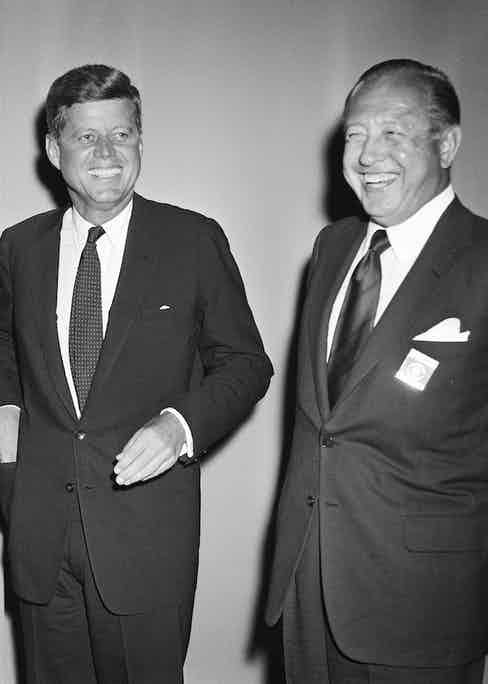 With John F. Kennedy at the first televised presidential debate between Kennedy and Richard Nixon, hosted by C.B.S. in Chicago, 1960. Photo by Photo by CBS/Getty Images.