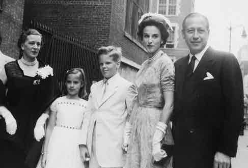 Bill and Babe with their children at the wedding of Sara Delano Roosevelt Whitney and Anthony di Bonaventura in New York, 1953. Photo by Max Peter Haas/FPG/Getty Images.