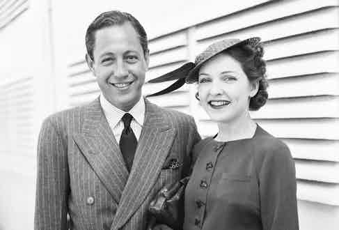 William S. Paley with his first wife, Dorothy Hart Hearst before they sail on the S.S. Normandie, 1936. Photo by Bettmann/CORBIS.