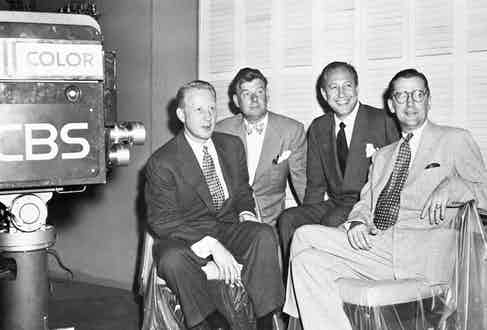 At the inauguration of C.B.S.' colour television broadcast with the then president of C.B.S., Dr. Frank Stanton, Arthur Godfrey, media host and celebrity and FCC chairman Newton N. Minow, 1951. Photo by Bettmann/CORBIS.