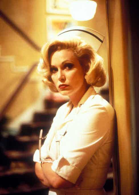 As Ruth Corday in Matinee, 1993. Her character's name was a tribute to actress Mara Corday.