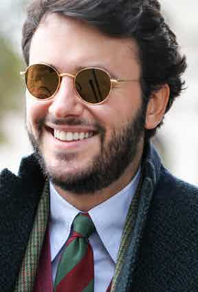 Fabio Attanasio, founder of The Bespoke Dudes Eyewear, wearing the Vicuña sunglasses that are up for grabs in the auction.