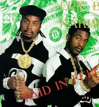 Rap duo Eric B. & Rakim in custom jackets for their Paid in Full album cover, released in 1987.