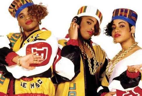 American hip-hop rap trio Salt-n-Pepa in their custom made 'Push It' jackets, circa 1987.