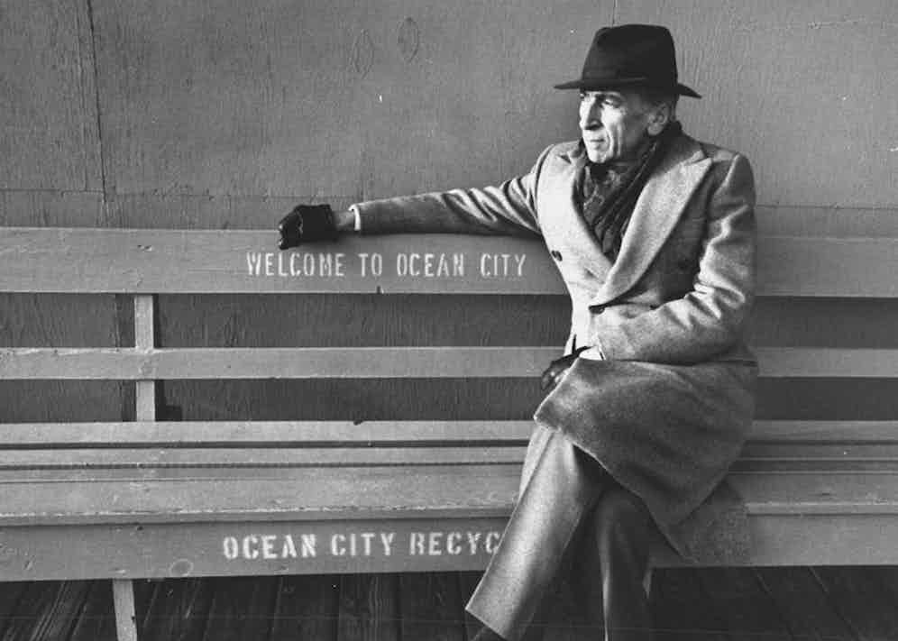 Talese sits on a bench on boardwalk in Ocean City in 1992 where he was born and raised. Photo by Marianne Barcellona/The LIFE Images Collection/Getty Images.