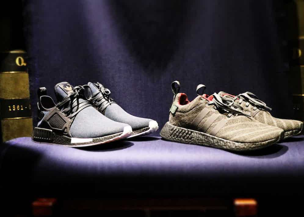 The Adidas Originals sneakers, created in Fox Brothers cloth by Henry Poole.
