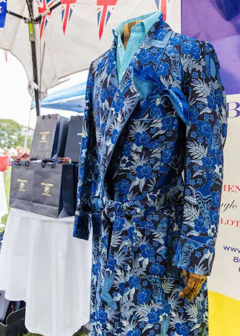 The New & Lingwood black & blue peacock silk dressing gown, available to purchase at TheRake.com.