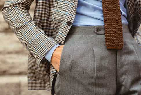 """Displaying his admiration of Italian tailoring, Olof's trousers are made by Sartoria Corcos in Florence. """"Kotaro, the young owner and tailor of this small sartoria, is very careful and leaves no garment until it's 100% perfect. The fabric is vintage and was found in his treasury shelf that has a multitude of stunning cloths."""""""