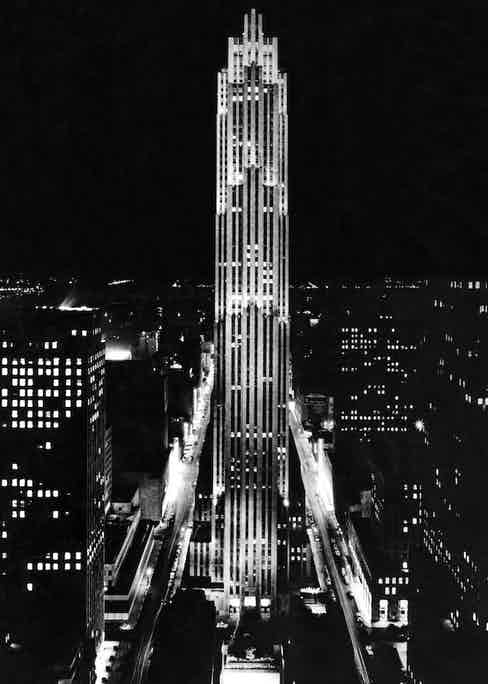 A view of the seventy story 30 Rockefeller Plaza building, the centrepiece of Rockefeller Centre in midtown Manhattan, New York, circa 1938. Photograph by Underwood Archives/UIG/REX/Shutterstock.