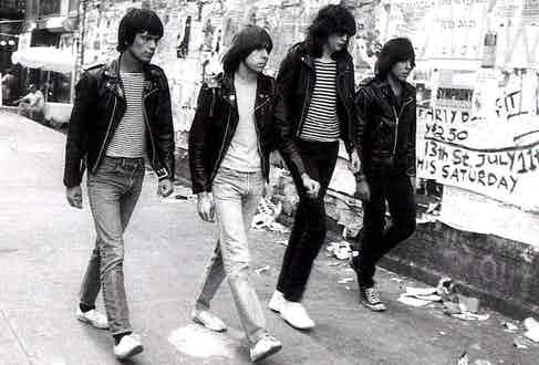 Dee Dee, Tommy, Joey and Johnny Ramone epitomise the rebellious, non-conforming mindset of a rock band in the 1970s, wearing Converse and matching leather jackets in New York, 1976.