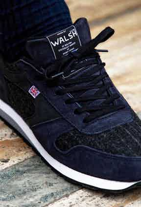 Walsh's Seoul '88 Churchill model is crafted from navy suede and Fox Brothers chalkstripe cloth, the same that was often famously worn by Sir Winston Churchill. Photograph by James Munro.