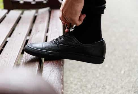 Cerruti 1881 leather plimsolls in black grained leather. Photograph by James Munro.