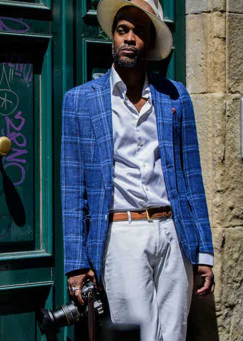 In Florence wearing the Hadleigh's x VBC blazer. Photograph by Massimiliano Cervone.
