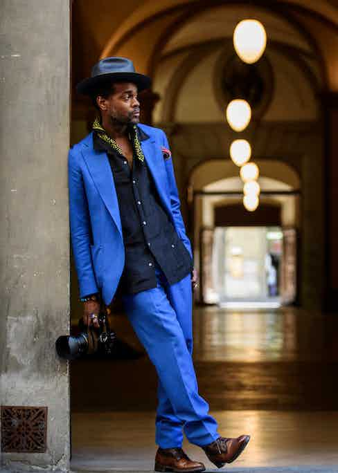 Shot in Florence wearing the Orazio Luciano x VBC suit. Photograph by Massimiliano Cervone.