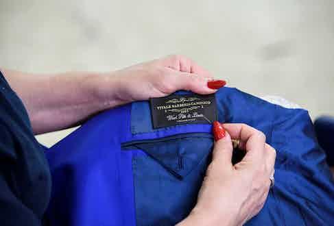 Vitale Barberis Canonico's label hand-stitched into the Orazio Luciano Blazer.