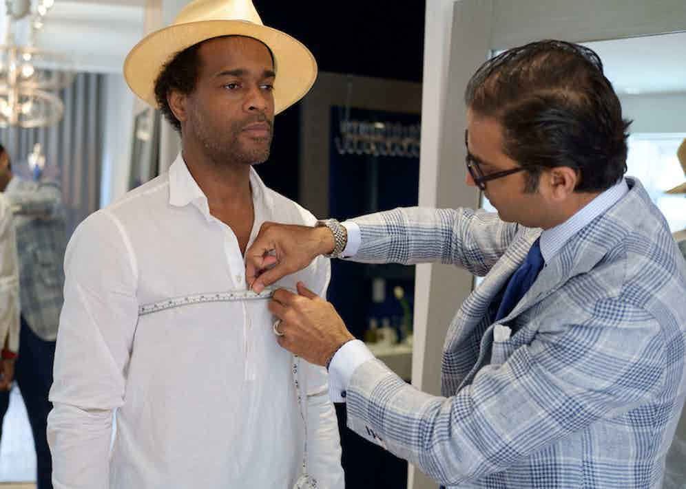 With Ed Shaikh of Hadleigh's at their penthouse showroom on Madison Avenue, New York. Photograph by John Walder.
