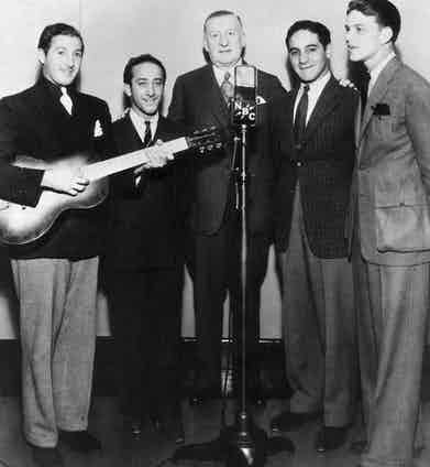 With his band, the Hoboken Four at the NBC Studios, circa 1936. Photo by Hulton Archive/Getty Images.