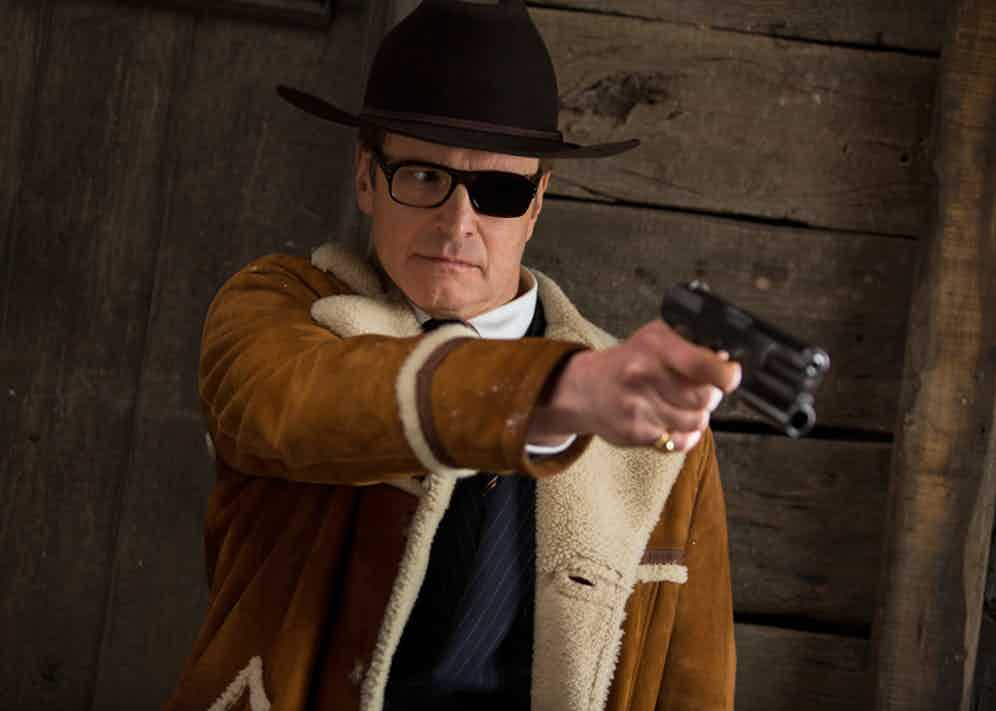 Colin Firth wears a made-to-order Cromford Leather shearling jacket in Kingsman: The Golden Circle, available on www.MrPorter.com.