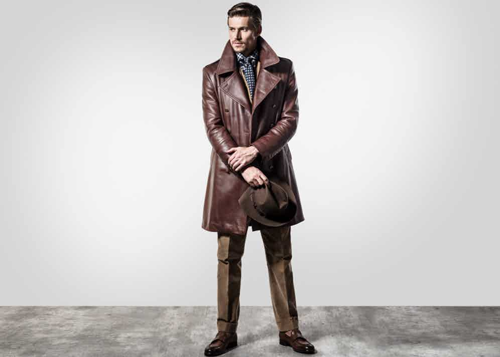 The Eastwood coat by Cromford Leather Co. is made from brown cowhide sourced in Italy.