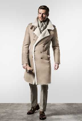This double-breasted shearling coat is inspired by those worn in the military.