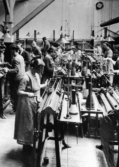Workers inside the old Falke knitting factory.