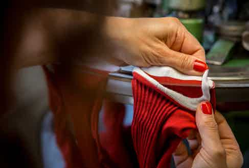 Hand-linking is one of the most skilled tasks in sockmaking.