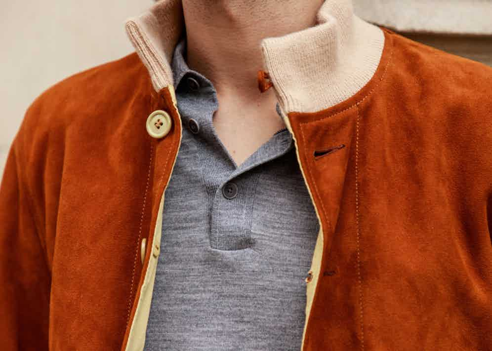 Falke's grey polo knit underneath the Chapal suede A1 jacket. Photograph by James Munro.