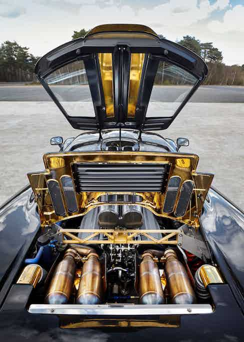 The gold-lined engine bay of the F1.