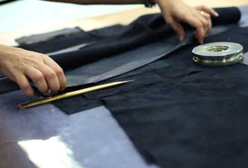 The goat suede is carefully cut and stitched by hand in Italy.