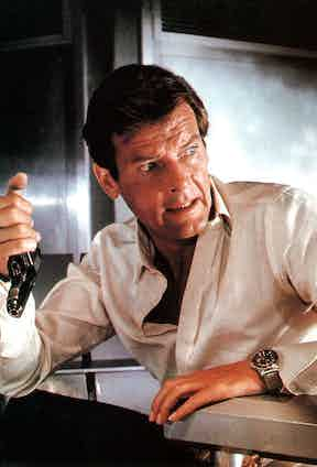 Roger Moore with a Rolex Submariner in Live and Let Die, 1973.