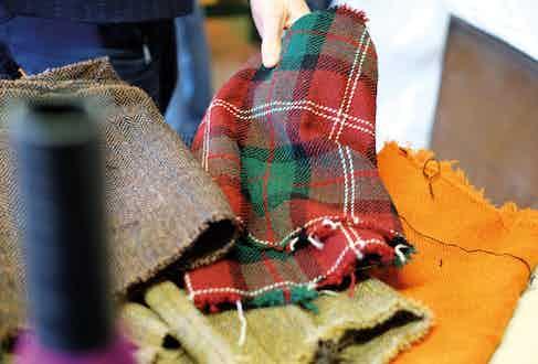 Sample cut-offs of Harris Tweed cloth.