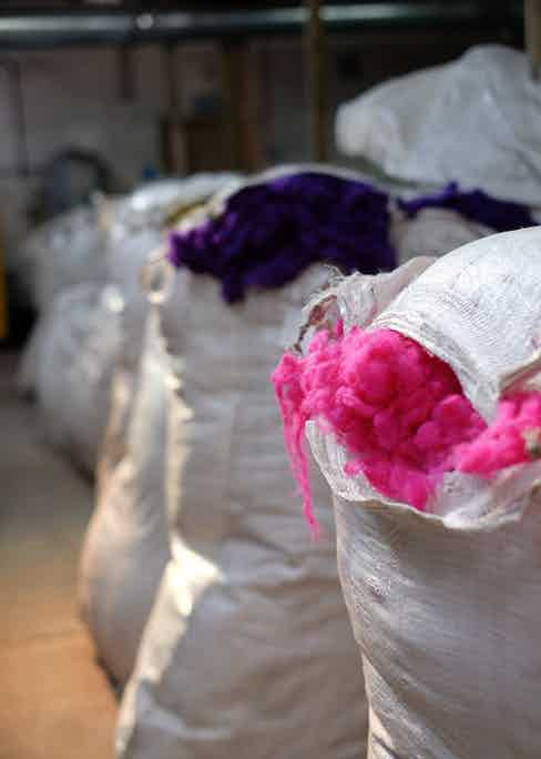 Bags of dyed wool at the mill.