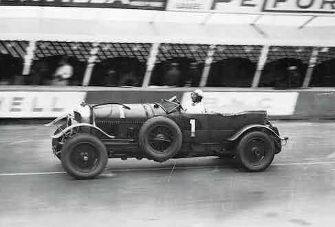 Barnato, the 1929 Le Mans winner, on the home straight.