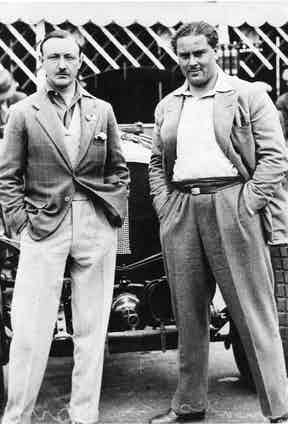 Birkin and Barnato demonstrating heir sartorial flair, 1929.
