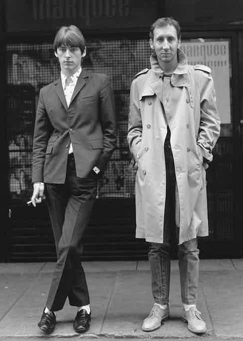Paul Weller from punk rock, mod revival band The Jam and Pete Townsend from The Who in Soho, London, 1980. Photo by Janette Beckman/Getty Images.