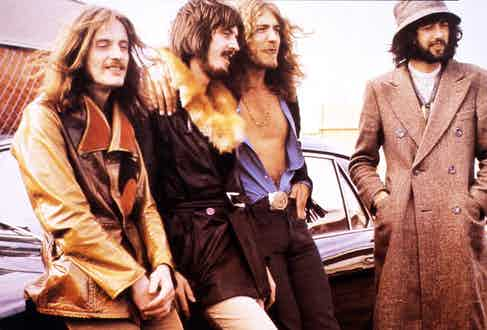 One of the progenitors of heavy metal, English rock band Led Zeppelin in Australia, 1970. Photograph by GAB Archive/Redferns/Getty Images.