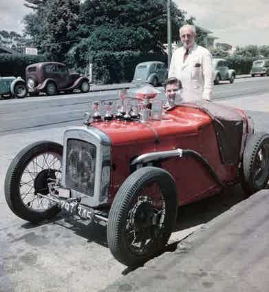 Sitting in the 1929 Austin 7 that ignited his passion for motorsport.