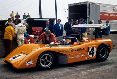 Piloting the McLaren-Chevrolet M8B that went on to win the Los Angeles Grand Prix in 1969. (Photograph by Bernard Cahier).