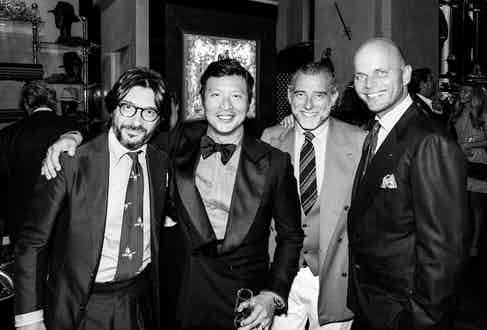 Nicola Ricci, Wei Koh, Alessandro Squarzi and Luca Rubinacci at the Distinguished Gentlemen's Ride Auction in collaboration with The Rake and Rubinacci, 2017.