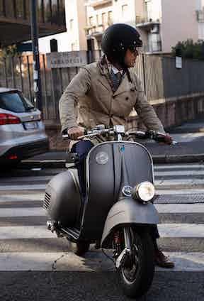 Mo Coppoletta on a Vespa Piaggio. Photograph by Stéphane Buttice.