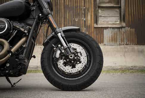 The Fat Bob's chunky tyres are combined with dual front brakes with floating rotors.