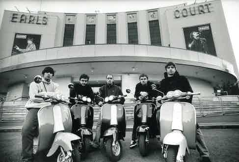 Oasis' band members on scooters at Earls Court, 1995.