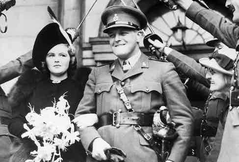 With Randolph Churchill, son of Winston Churchill, First Lord of the British Admiralty, leaving St. John's Church in London after their marriage in 1939. Photograph by Bettmann/CORBIS.