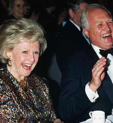At the Anatomy of Peace Celebrity Gala with the American Ambassador, 1993. Photograph by Paul Greaves/REX/Shutterstock.