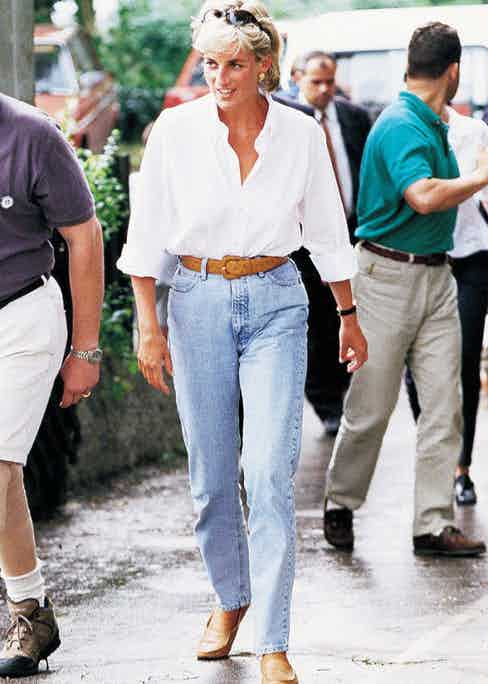 Dressed-down Diana in jeans and a relaxed white shirt during a trip to Bosnia, August 1997.
