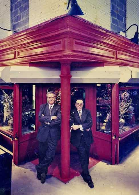Rao's co-owners Ron Straci and Pellegrino Sr. outside the restaurant, 1995. Photograph by Bernd Auers.