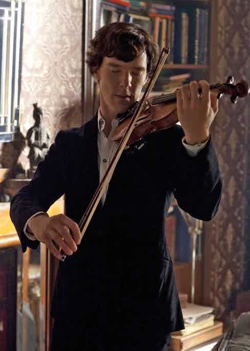 Benedict Cumberbatch in the second series of BBC's Sherlock, playing the violin. Violinist Eos Chater was hired to coach him throughout.