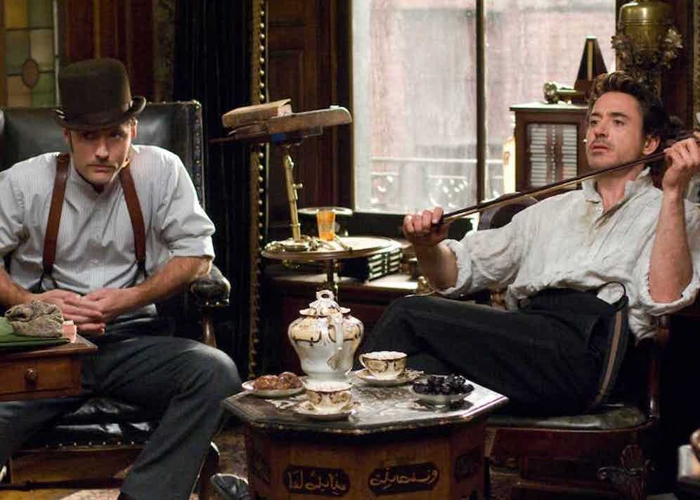 Dr. Watson and Holmes at the detective's Baker Street flat in the 2009 film.