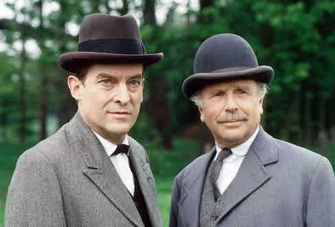 Jeremy Brett and Edward Hardwicke in The Casebook of Sherlock Holmes, a TV series aired in 1984. Photo by ITV/REX/Shutterstock.